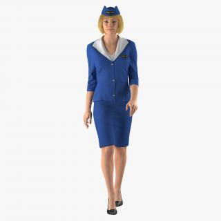3D Stewardess Rigged 3D Model