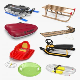 3D Snow Sleds Collection 3 model