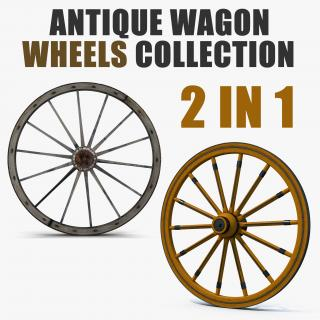 3D Antique Wagon Wheels Collection