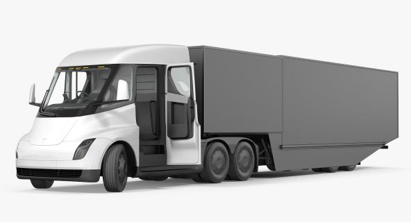 Electric Semi Truck Tesla with Trailer Simple Interior 3D model