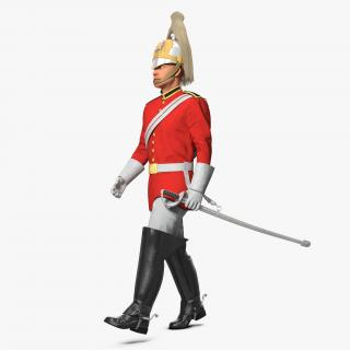 3D model British Royal Lifeguard Walking Pose with Fur