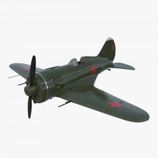 3D Soviet WWII Fighter Aircraft Polikarpov I-16 Rigged