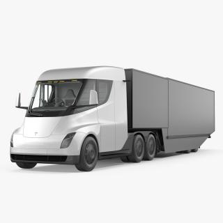 3D Electric Semi Truck Tesla with Trailer model