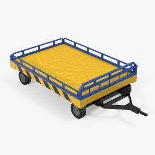 Airport Transport Trailer Low Bed Platform 3D