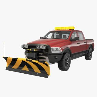 3D Pickup with Snow Plow Rigged model