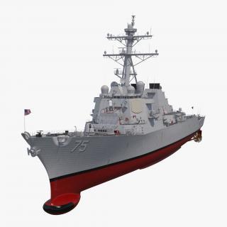 Arleigh Burke Destroyer Donald Cook DDG-75 Rigged 3D model