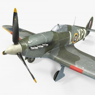 3D Hawker Hurricane Weathered