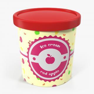3D Ice Cream Pint Tub Red Apple model