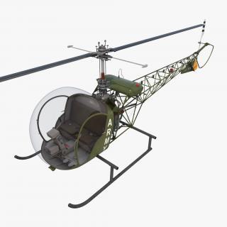 Light Helicopter Bell 47 Millitary 3D model