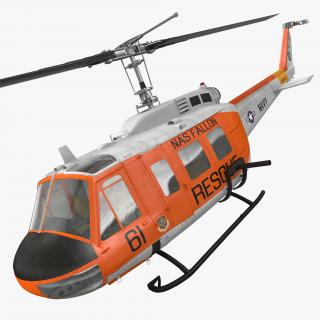 3D model US Navy Bell UH-1 Iroquois Rescue Rigged