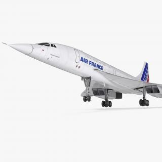 3D Concorde Supersonic Passenger Jet Airliner Air France model