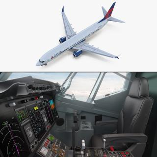 3D Boeing 737-900 with Interior and Cockpit Delta Air Lines