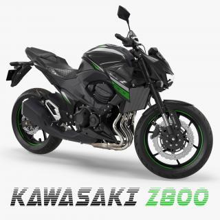 3D Kawasaki Z800 2016 Green Rigged
