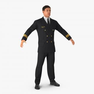 3D Airline Pilot with Hair model