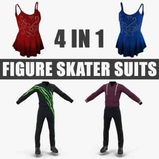 3D model Figure Skater Suits Collection