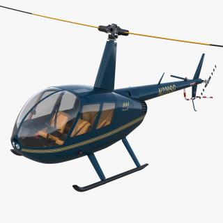 3D Light Helicopter Robinson R44 Rigged