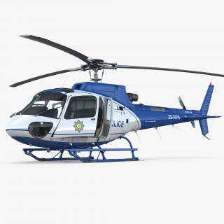 Police Helicopter Eurocopter AS-350 Rigged 3D