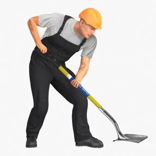 Construction Worker Digging with Shovel 3D model