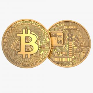 Gold Bitcoin Coin 3D