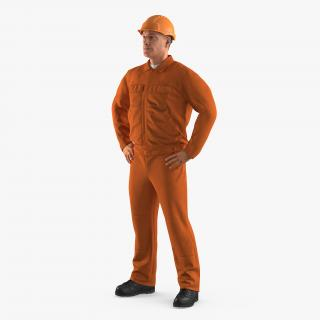 Factory Worker Orange Overalls with Hardhat Standing Pose 3D