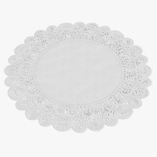 3D Round White Paper Lace Doily model