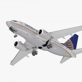 Boeing 737-600 United Airlines Rigged 3D