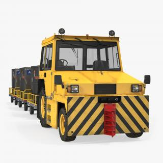 Push Back Tractor Hallam HE50 Carrying Passengers Luggage 3D