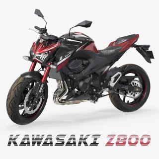 3D model Motorcycle Kawasaki Z800 Red Rigged