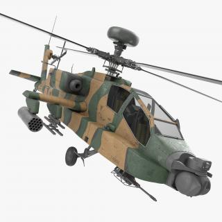 AH-64D Apache Longbow Japan Rigged 3D model