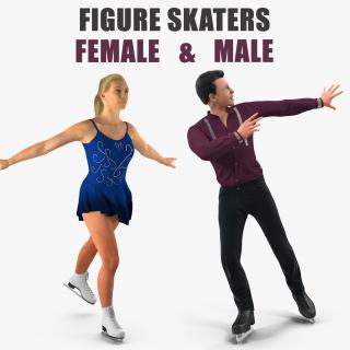 3D Male and Female Figure Skaters Collection 2 model