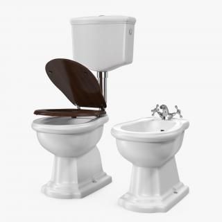 Old Style High Level Toilet and Bidet 3D
