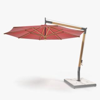 3D Offset Wooden Patio Umbrella model