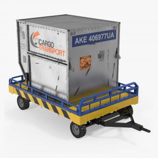 Airport Transport Trailer Low Bed Platform with Container 3D