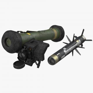 Anti Tank Missile FGM-148 Javelin Set Rigged 3D model