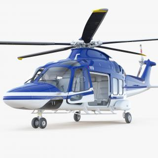3D Multirole Helicopter AgustaWestland AW169 Rigged model