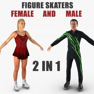 3D Male and Female Figure Skaters Collection