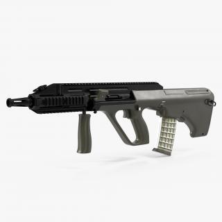 3D Austrian Bullpup Rifle Steyr AUG A3 Green