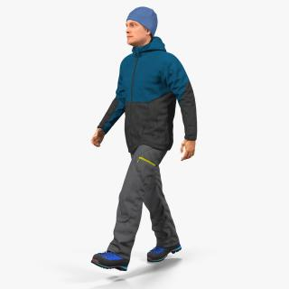 Winter Men Sportswear Walking Pose 3D model