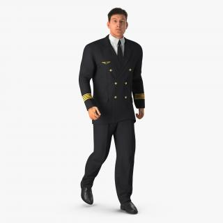 3D model Airline Pilot with Hair Rigged