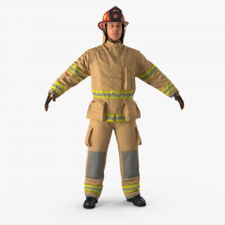3D Firefighter with Fully Protective Suit model