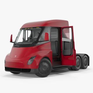 Electric Semi Truck Tesla Rigged 3D