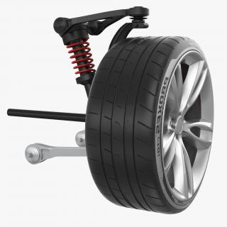 3D Car Front Suspension with Wheel