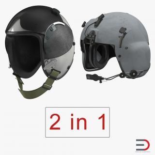 3D US Military Pilot Helmets Collection
