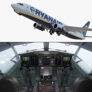 3D model Boeing 737-900 with Interior and Cockpit Ryanair Rigged