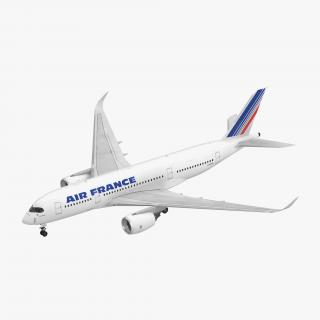 3D Airbus A350-800 Air France Rigged model