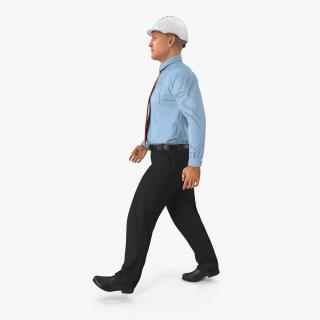 3D model Construction Engineer in Hardhat Walking Pose