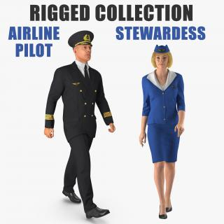 3D Airline Pilot and Stewardess Rigged Collection