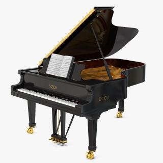 3D Grand Piano Fazioli with Music Notes Book