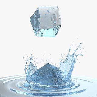 3D Ice Cube Water Splash