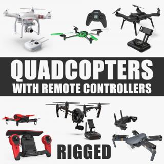 3D Quadcopters with Remote Controllers Rigged Collection model
